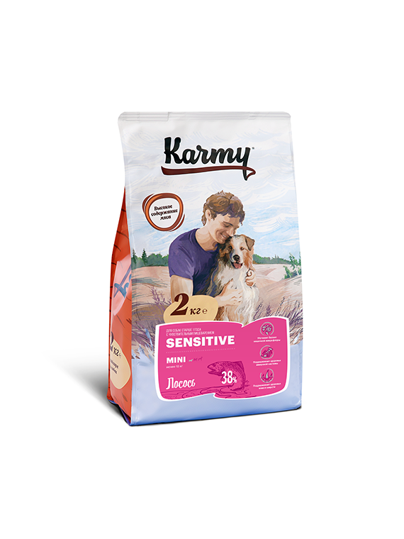 Karmy Dog MINI Sensitive Корм для собак мелких пород Лосось 2кг